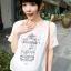 เสื้อคลุมท้องสไตล์เกาหลีสีขาว คอปกสีชมพูสกรีนลายกรงนก ไซต์ L thumbnail 2
