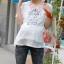 เสื้อคลุมท้องสไตล์เกาหลีสีขาว คอปกสีชมพูสกรีนลายกรงนก ไซต์ L thumbnail 3